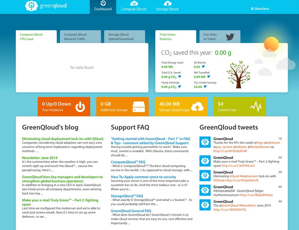 GreenQloud-Dashboard in der Uebersicht