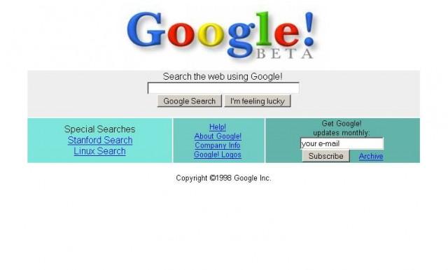 Bild: Google in 1998/Archive.org