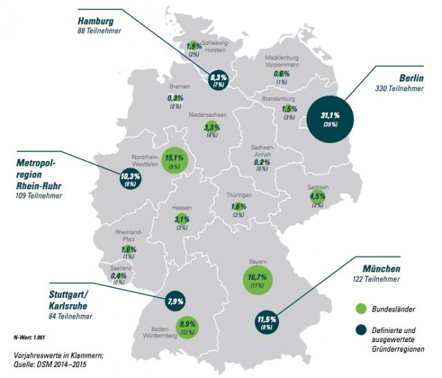 Deutscher Startup Monitor: Deutschlandkarte mit Hauptsitz der Start-Ups