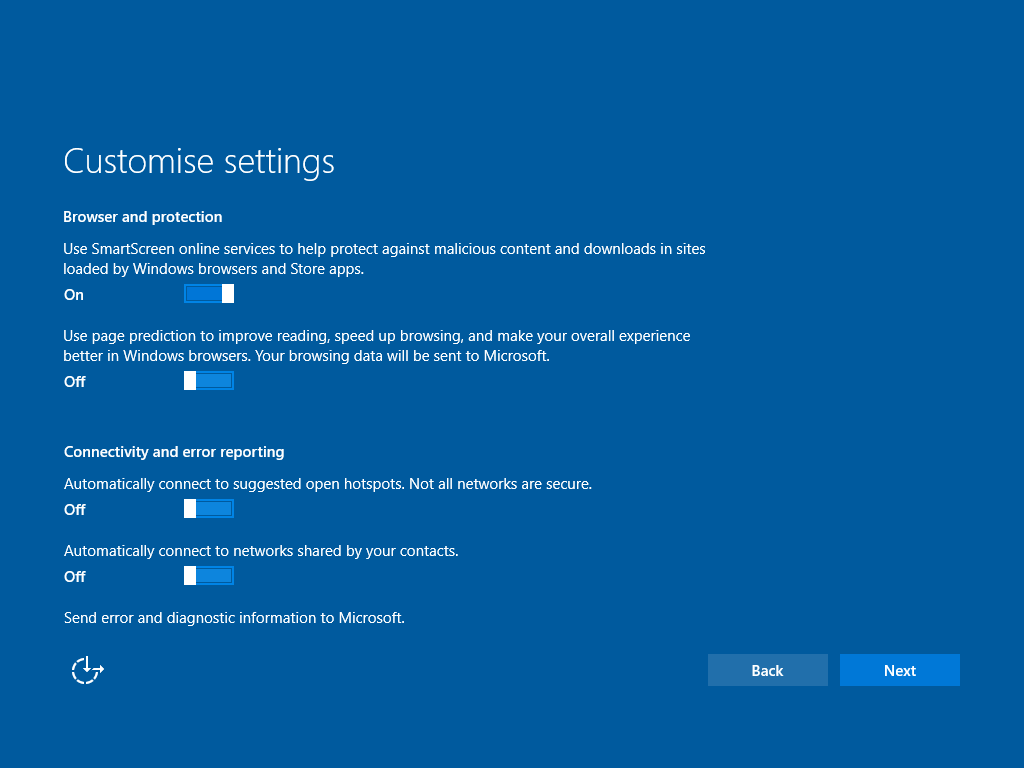 """""""Browser and protection"""" sowie """"Connectivity and error reporting"""" Windows 10 erlaubt es dem Nutzer, seinen Datenschutz selbst einzurichten (Bild: Windows 10)."""