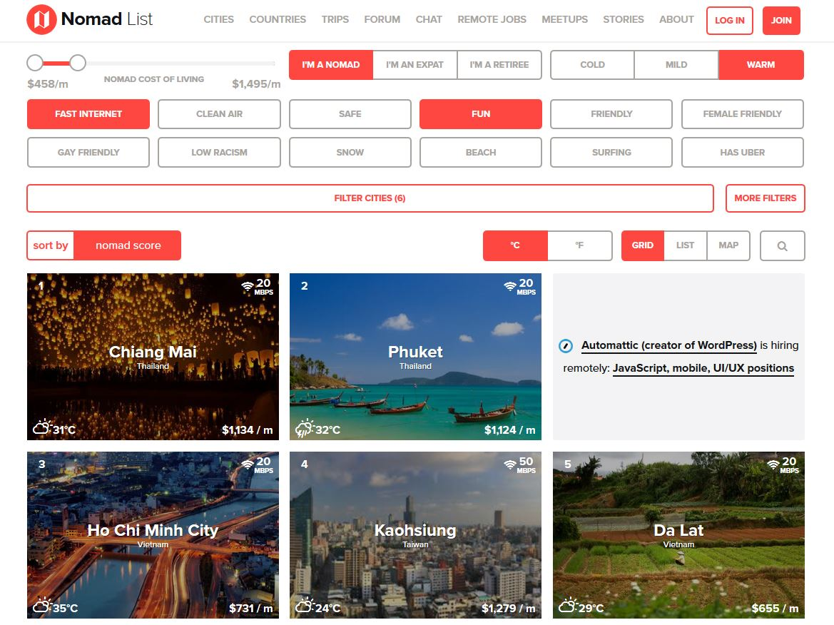 Screenshot von nomadlist.com mit Filter