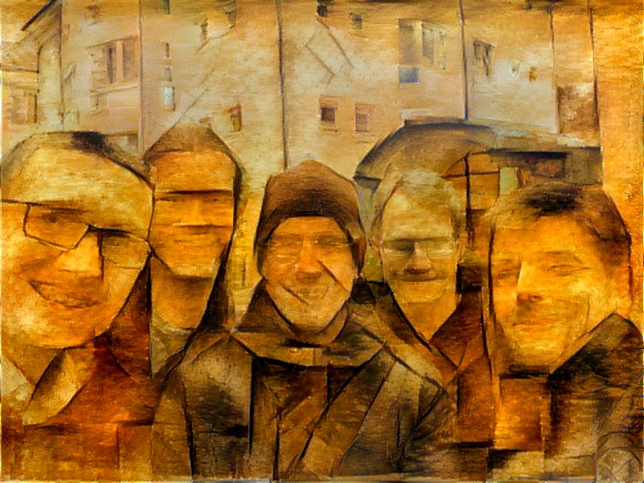 Die fünf Gründer im Deepart-Stil: vomMatthias Bethge Alex Ecker Leon Gatys Łukasz Kidziński Michał Warchoł