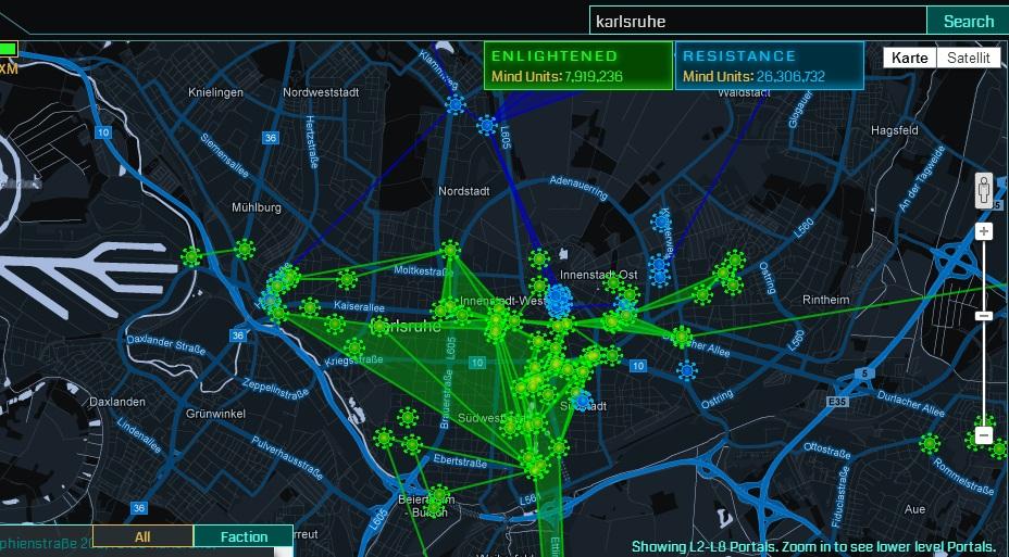 Die Karte von Karlsruhe samt Einflusszonen im Spiel Ingress.