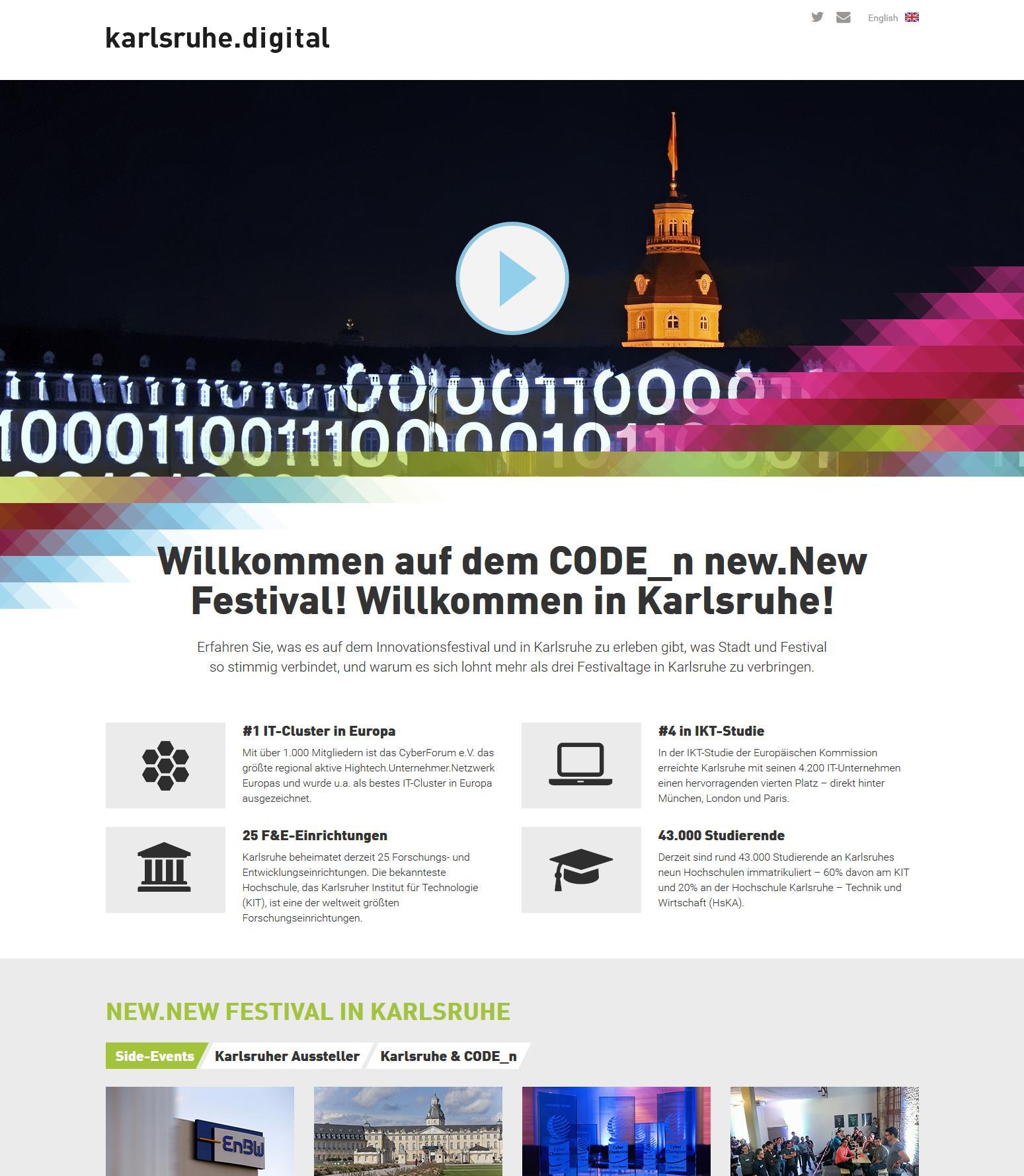 Screenshot der Seite www.karlsruhe.digital