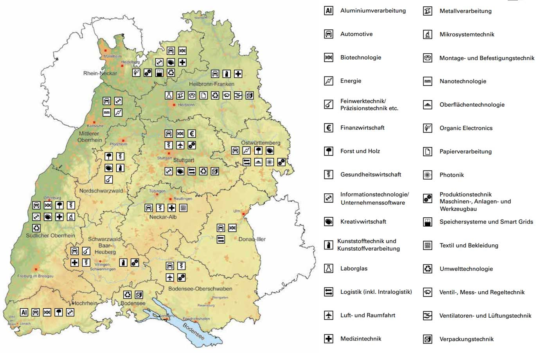 Cluster Karte Baden-Württemberg