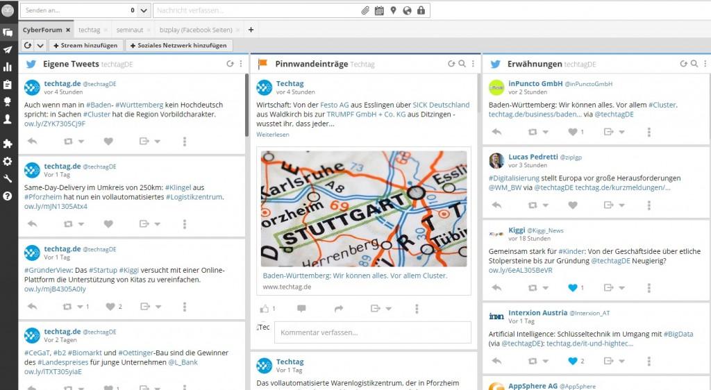 Unternehmensprofile, Social-Media-Kanäle und Interaktionen auf einen Blick (Bild: HootSuite)