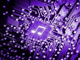 Musiknote auf Computerchip