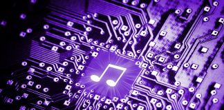 Musiknote auf Computerchip