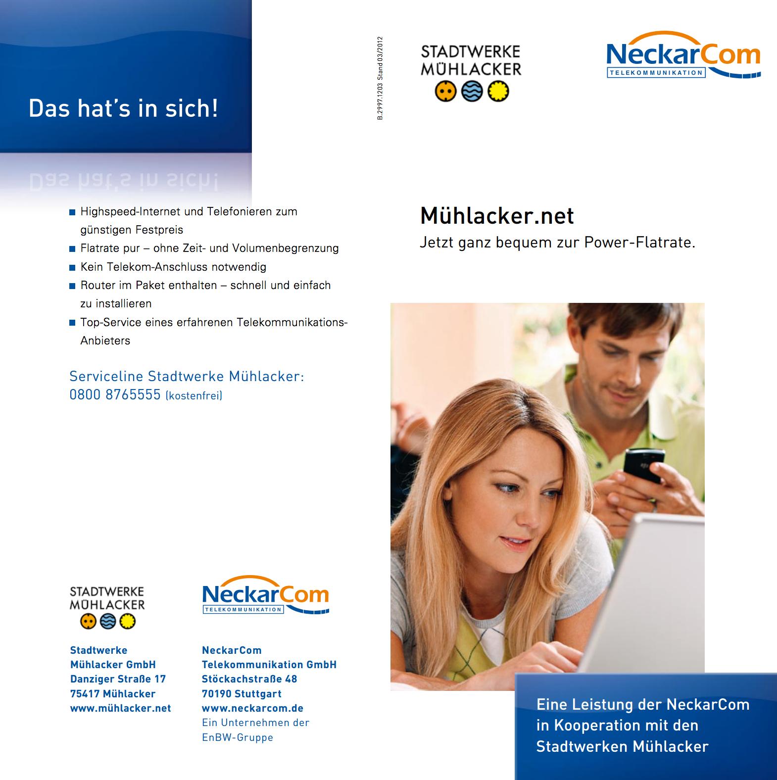 Mühlacker.net, eine Kooperation zwischen den Stadtwerken und NetCom BW für schnelles Internet in Mühlacker