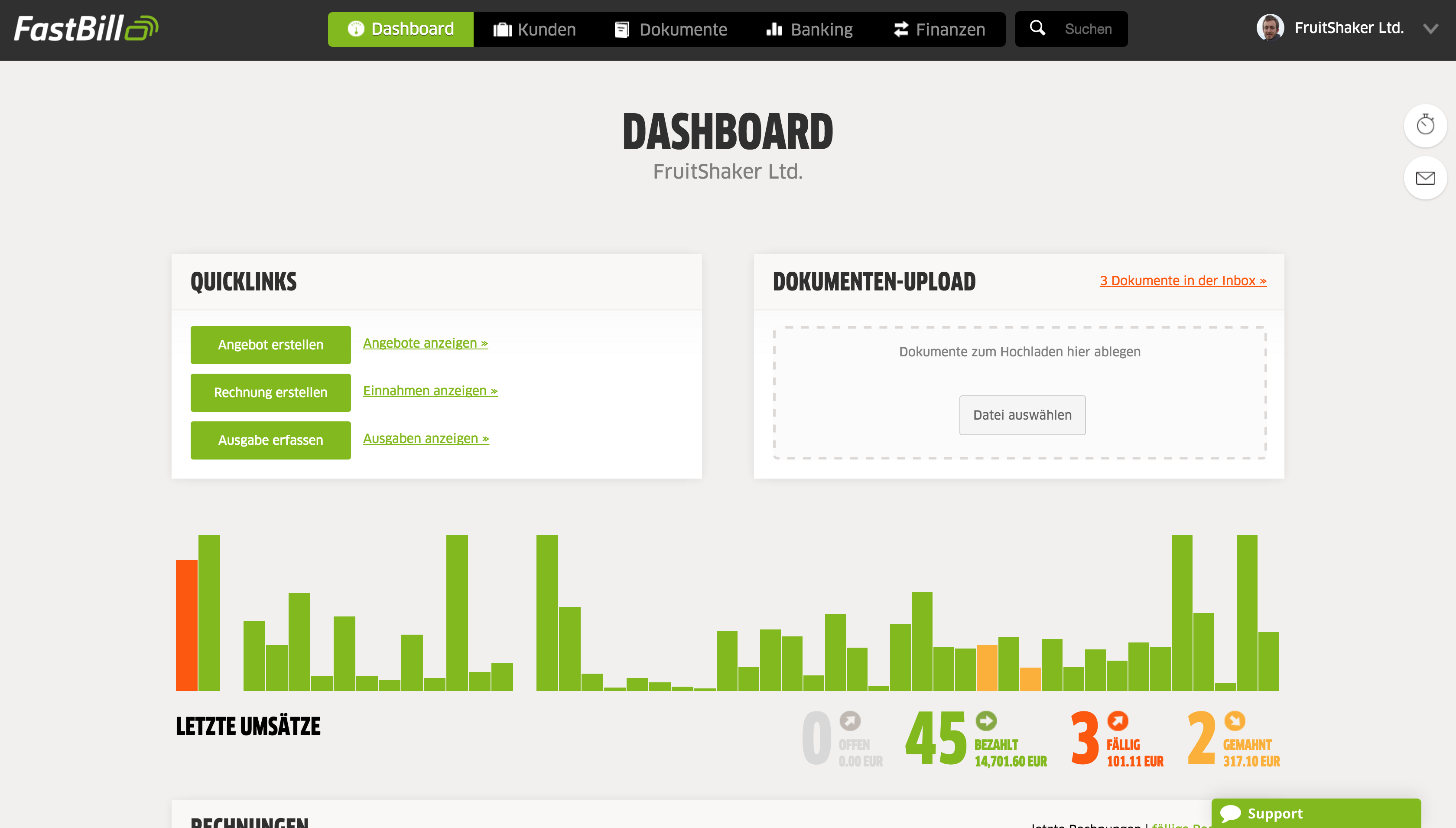 FastBill - Dashboard