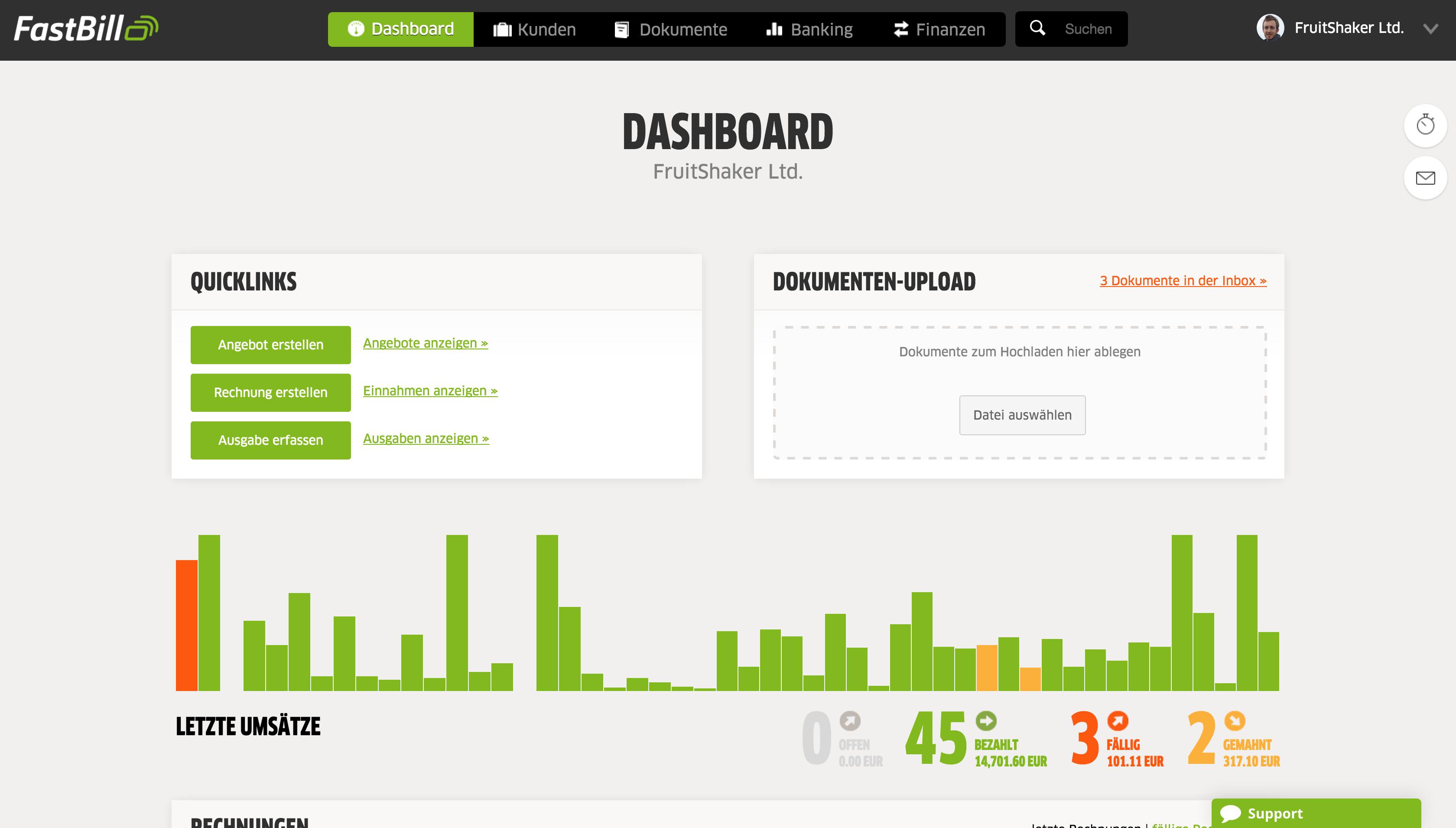 FastBill - Dashboard