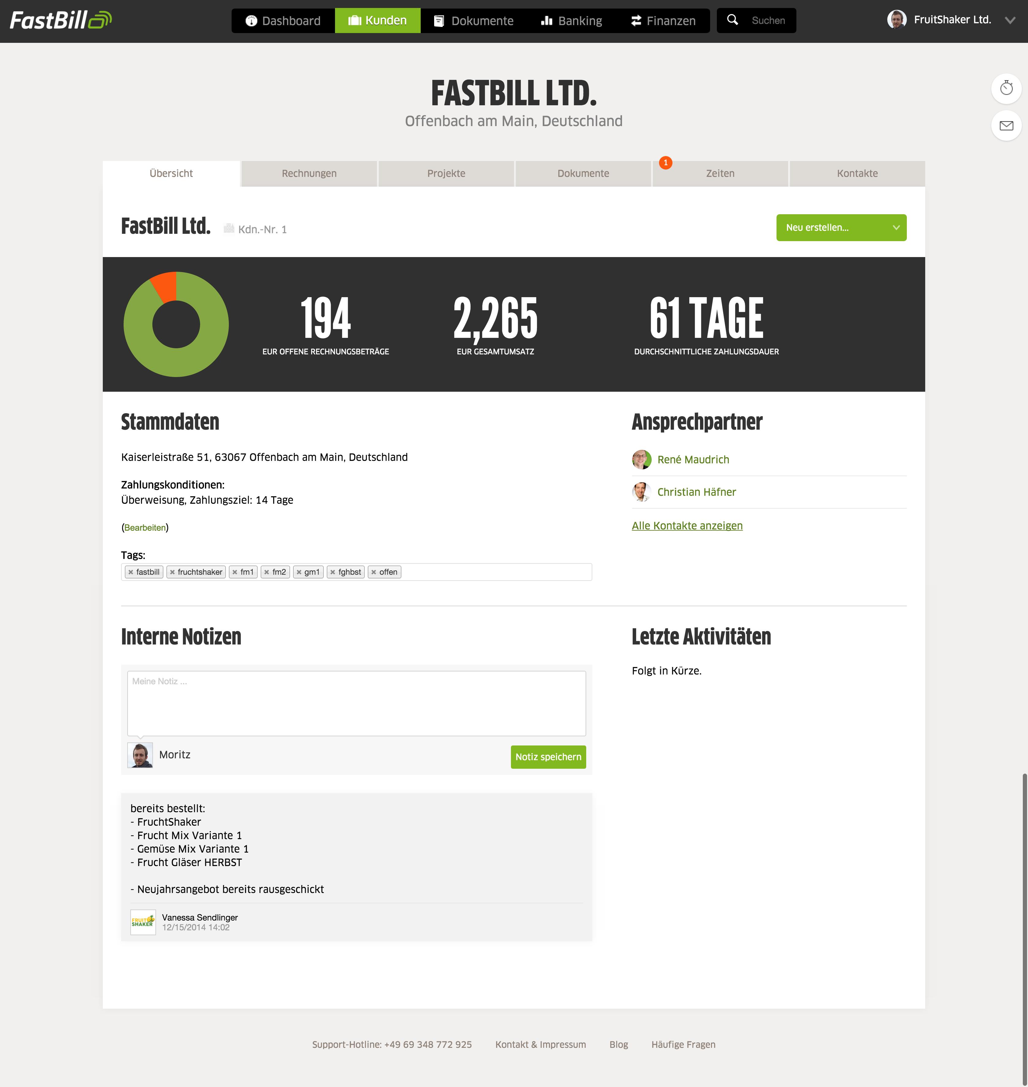 FastBill - Kundenakte