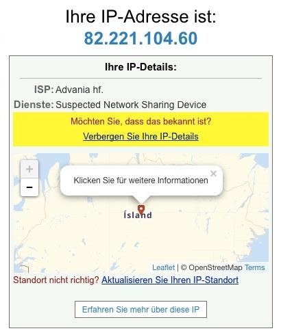 Der IP-Standort des Zielservers kann einfach im Browser überprüft werden.