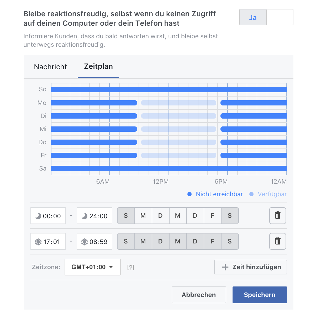 Facebook - Antwortassistent - Zeitplan