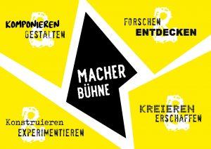 Gelbe Grafik und Anzeigenmotiv des Morgenmacher Festival Stuttgart. Hinweis auf die Macherbühne